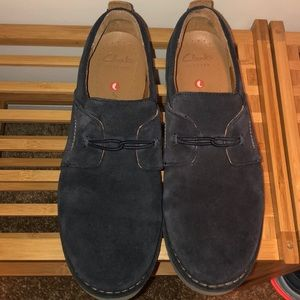 Blue Clarks Suede Slip-on Loafers